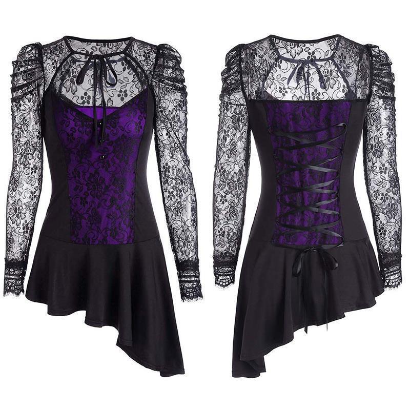 1f390399ded Sexy Gothic Punk Dress Robe Vintage Black Lace Up Vestidos Lady ...