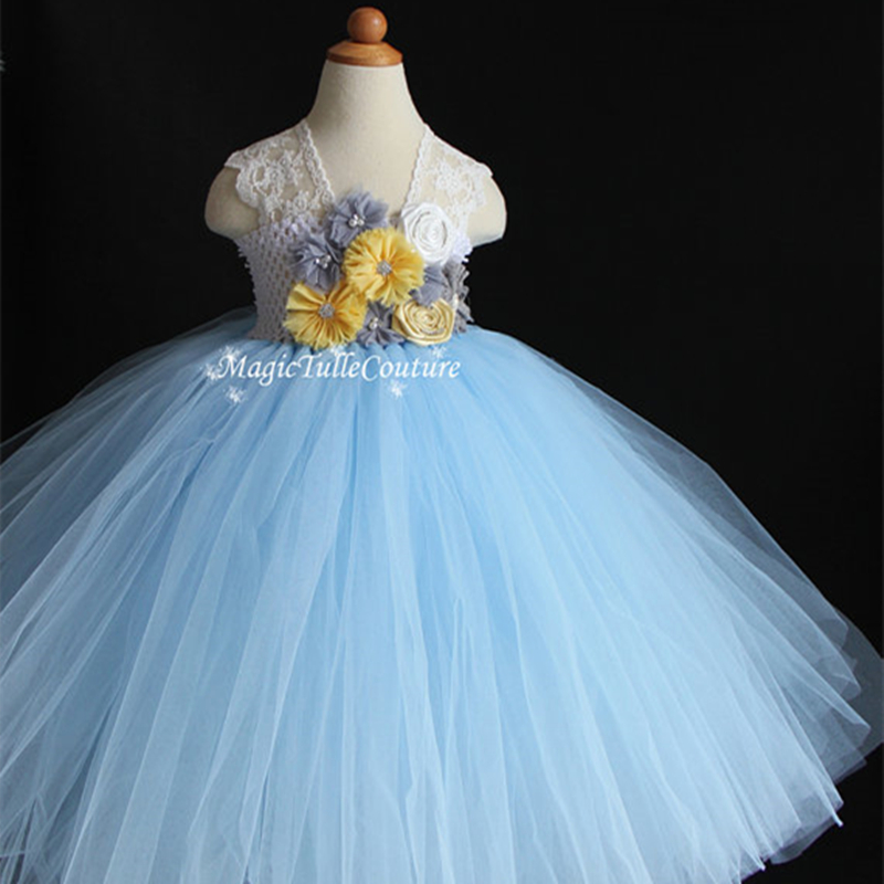 Light Blue and Yellow Grey Baby Girls Dresses Flower Girl Tutu Dress Birthday Wedding Dress for Occasion Party прогулочная коляска cool baby kdd 6699gb t fuchsia light grey