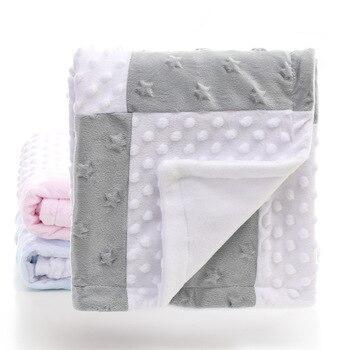 2 camadas 3D dot coração estrela padrão de splicing fleece coral minky macio da criança térmicas criança colcha de cama cobertor do bebê swaddle