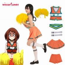 Uniforme cheerleaders da academia de my hero, fantasia de cosplay, uniforme ochako, t℃ bfesta, vestido feminino com poms