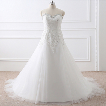 White Ivory Sweetheart Plus Size Wedding Dresses Real Photo Lace Appliques Deaded A-line Vestidos De Novia Bridal Gowns In Stock