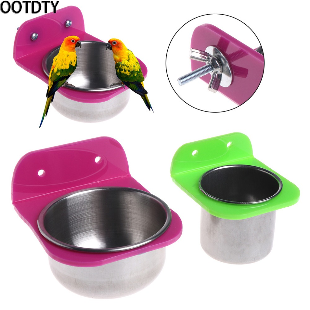 OOTDTY Stainless Steel Food Water Bowl Bird Feeder For Crates Cages Coop Dog Parrot Pet