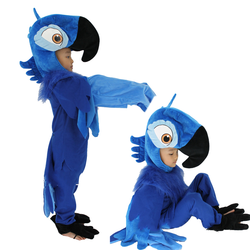 Rio Blue Parrot Cosplay Costume Boys Cartoon Animal Cosplay Costume Kids Blue Parrot Clothes Children Halloween Party Costumes