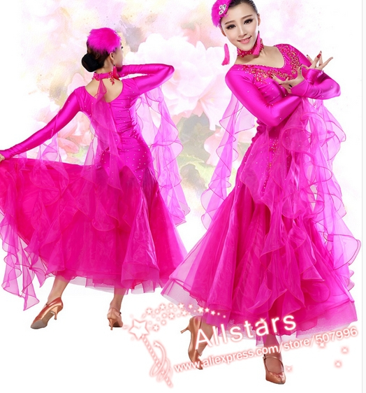 M-XXL 6 color pink green red black  blue rosy modern waltz ballroom  dance costume competition dress h-0334