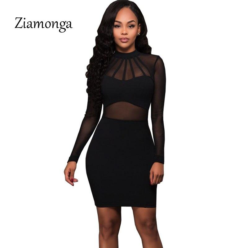 73d8cc4b500 Ziamonga Women Summer Bandage Dress 2019 Black Long Sleeve Mesh Sheer Tunic  Party Dresses Sexy Club