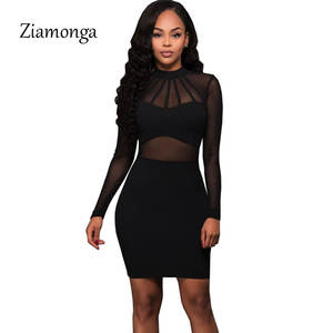 Ziamonga Women Summer Black Long Sleeve Party Dresses Sexy 57b40ee76380