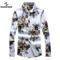 Shanbao mens camisa elegante floral impressão ocasional magro camisa marca masculina de negócios formal camisas de grande porte lazer clothing m ~ 5xl