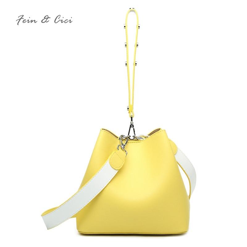 100% genuine leather bucket bag women cow leather shoulder bag crossbody bags yellow pink blue red grey handbag