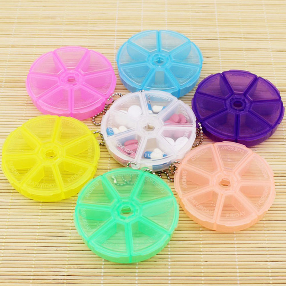 Round Tablet Pill Holder 7 Days Weekly Pill Box Dispenser For Travelling Organizer Container Dispenser Solitters Box
