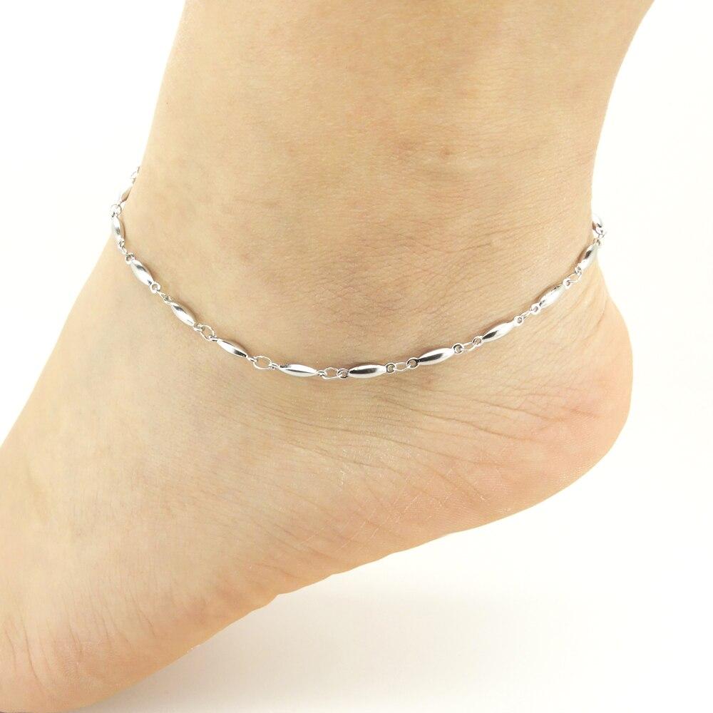 Для женщин браслеты на ногу Нержавеющая сталь Сандалеты с перепонкой на лодыжке Капля воды овальный 9/10/11 дюймов милые Модные украшения предложение от производителя
