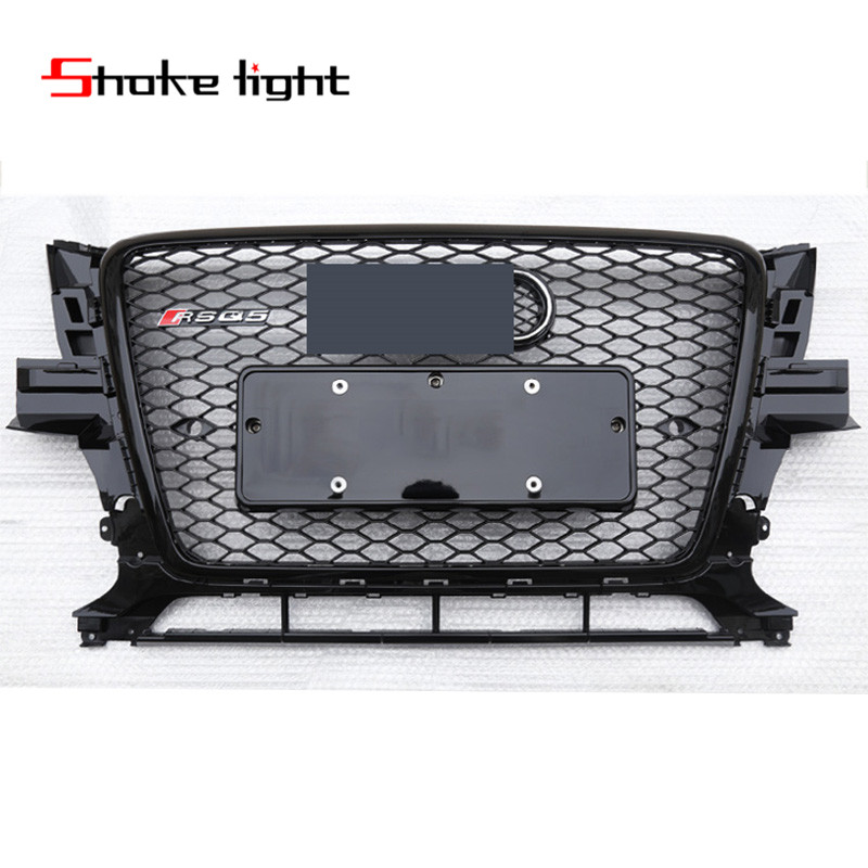 Refit For Audi Q5 RSQ5 2008 2009 2010 2011 2012 New ABS Black Painted Front Honey Mesh Grille Sedan Coupe Convertible golfliath sq5 style black painted chrome frame honeycomb mesh front grille for audi q5 2009 2012