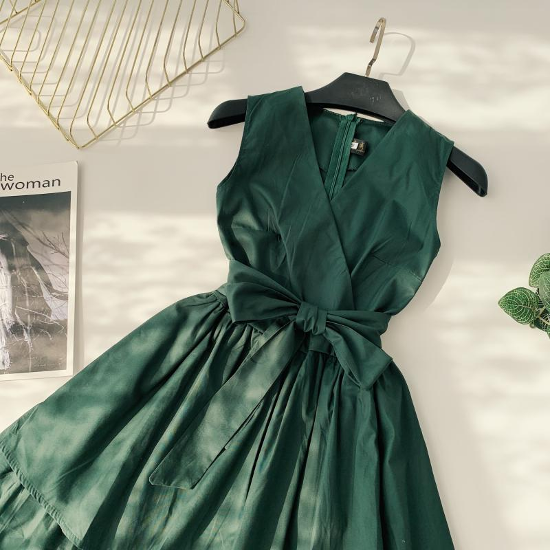 Korean Vintage Pure V Collar Sleeveless High Waist Bow Tie Double Ruffle Holiday Dress Women Vestidos E348 72