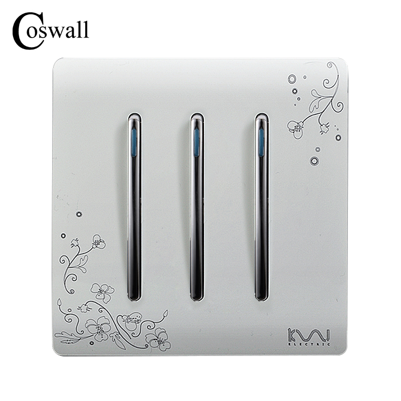 COSWALL Fashion Wall Push Button Switch 3 Gang 2 Way Ivory White Brief Art Fashion Light Switch AC 110~250V coswall 2 gang 1 way luxury light switch push button wall switch interruptor stainless steel panel ac 110 250v