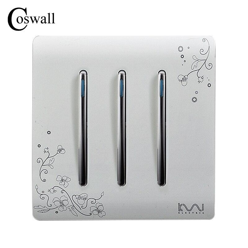 COSWALL Fashion Wall Push Button Switch 3 Gang 2 Way Ivory White Brief Art Fashion Light Switch AC 110~250V цены