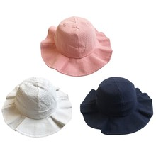 Niños niños niñas gorras Vintage amplia ala tapa suave lana Felt Bowknot  Bowler Floppy niños sol sombrero de playa sombrero ebf5f82d87d