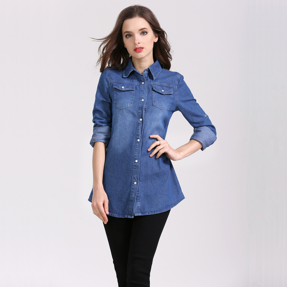 cbe12beab8734 Plus Size Fashion Autumn Long Shirts For Women Casual Denim Shirt Long  Sleeve Slim Blusa Jeans Drawstring Tops New Chemise Femme-in Blouses    Shirts from ...