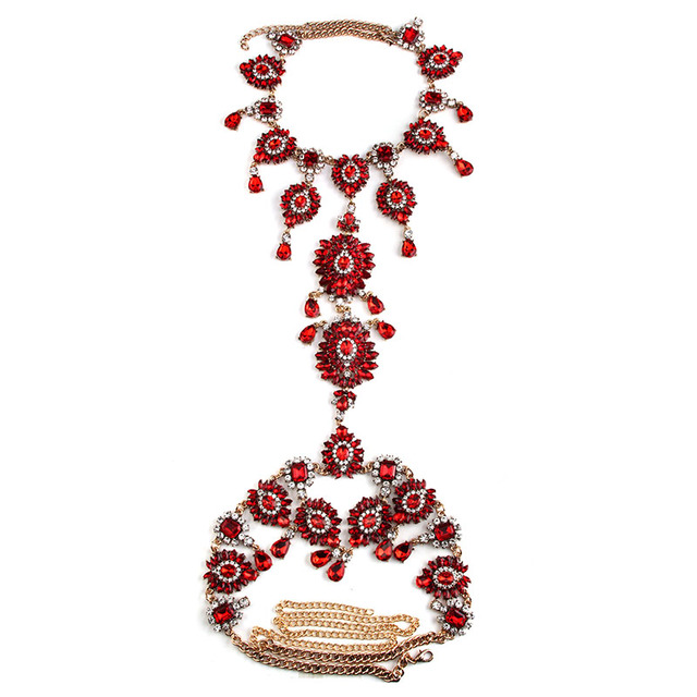 Summer Sexy Long Body Necklace Chain Handmade Tassel Chunky Boho Gem Crystal Statement Necklace Femme Vacation 3488