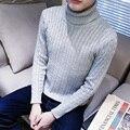 Homem camisola de Malha De Inverno Quente Pullovers Com Decote Em V Padrão de gola alta Manga Longa Blusas de Jumper Masculino