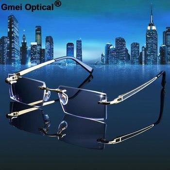 0e55df9aa516 Gmei óptico 983 fantasma recorte titanium gafas sin aros de diamante de  corte no dioptrías anteojos ópticos para los hombres y las mujeres