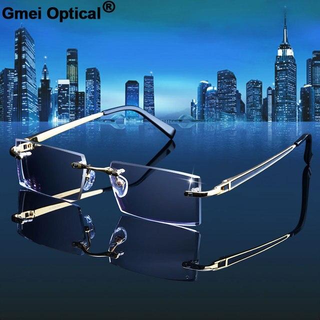 Gmei אופטי 983 פנטום זמירה טיטניום ללא שפה משקפי שמש יהלומי חיתוך אף דיופטריות אופטי משקפיים לגברים ונשים