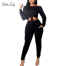 Party Lady 2018 Party Club Jumpsuits For Women Autumn Winter Solid Color Rompers Sexy Slash Neck Fashion Girls Jumpsuit -E