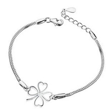 2016 Korean Fashion Silver Four Leaf Clover Bracelet 925 Sterling Silver Bracelet Women Accessories Srebrna bransoletka B160509
