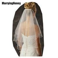 Bridal Wedding Veil Ribbon Edge Ivory White 2T Long Velo Novia Bridal Bridesmaid Veils Comb fashion simple cheap accessories
