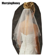 Bridal Wedding Veil Ribbon Edge Ivory White 2T Long Velo Novia Bridesmaid Veils Comb fashion simple cheap accessories