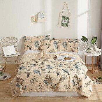 100% хлопок постельные покрывала Американский пастырской птица печати бросает одеяло летние тонкие кашне stiching одеяло заполнения