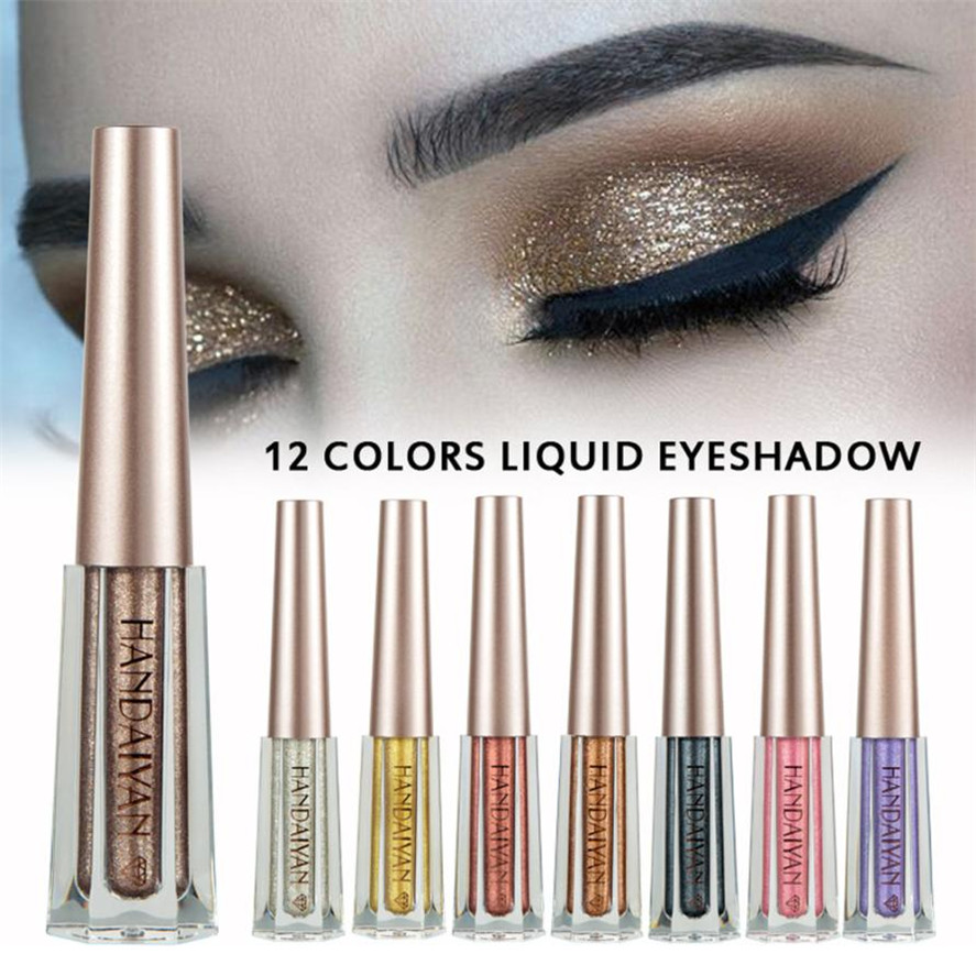 New HANDAIYAN 1PC Fashion Metallic Shiny Smoky Eyes Eyeshadow Waterproof Glitter Liquid Eyeliner Women's Makeup Eyeshadow 10