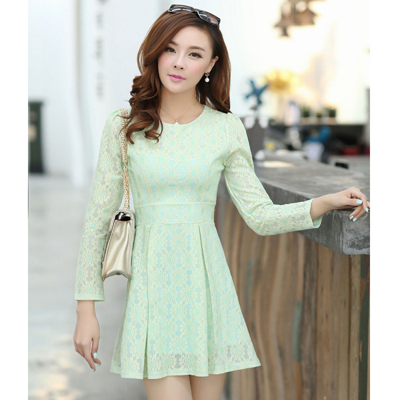 2015 New Cute Korean Style Long Sleeve O neck Lace Dress Pink Green Yellow Black Dresses For ...