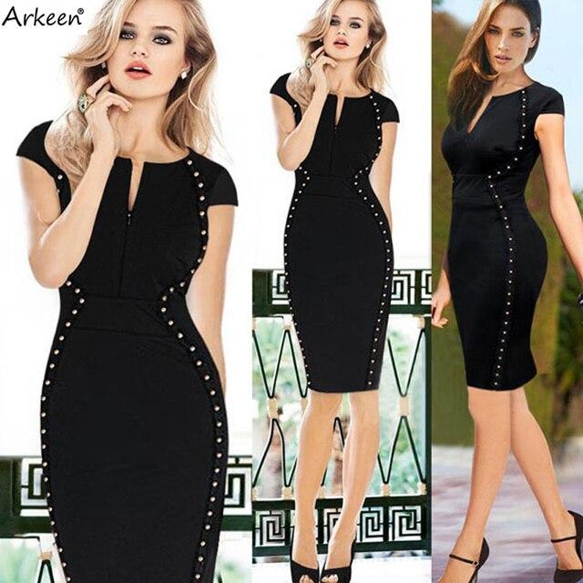 Fashion Brand 2017 Retro Black Rivet Pencil Dresses Party Kleider ...