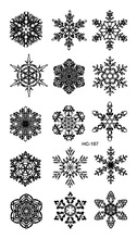 HC1187 Women Sexy Flash Fake Tattoo Stickers Black Snowflake Winter Christmas Design Water Transfer Temporary Tattoo Stickers