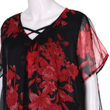 Womens Tops And Blouses Plus Size Criss Cross Double Chiffon Print Short Sleeve Shirt Tops