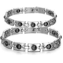 Lovers' Stainless Steel Hologram Bracelet Couple Gift Women Men Bracelets Magnetic Stone Hot Fashion Health Care Jewelry GS8245