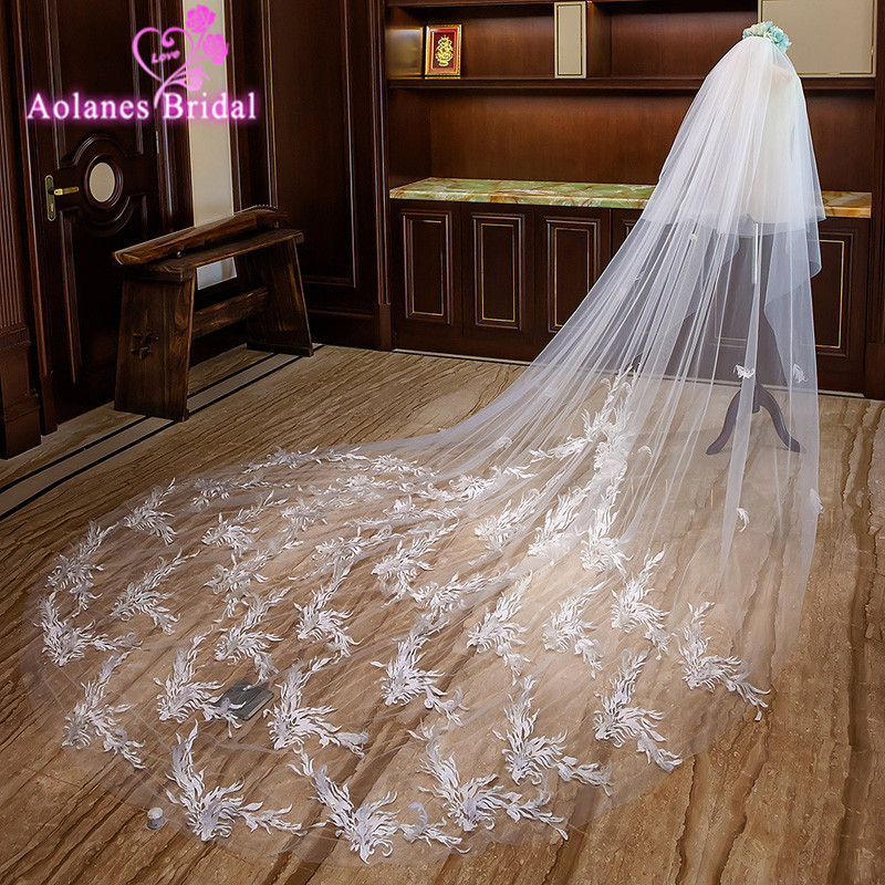 Bridal Wedding Appliques Tulle Cathedral Wedding Long Veil with Comb 5m