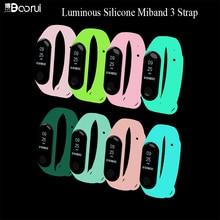 BOORUI Luminous silikonowy Miband 3 pasek pulsera regulowany kolorowy zapasowy pasek na nadgarstek dla xiaomi mi 3 inteligentne bransoletki zespół