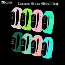 BOORUI 빛나는 실리콘 Miband 3 스트랩 pulsera 조정 가능한 다채로운 손목 스트랩 교체 xiaomi mi 3 스마트 팔찌 밴드