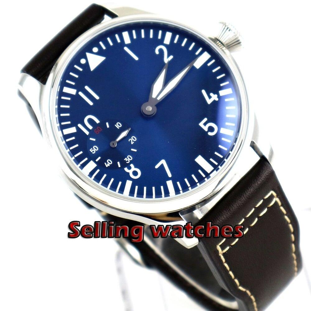 44mm PARNIS light blue dial Aziatische 6497 17 juwelen Mechanische Hand Wind beweging heren horloge groene lichtgevende Mechanische horloges-in Mechanische Horloges van Horloges op  Groep 1