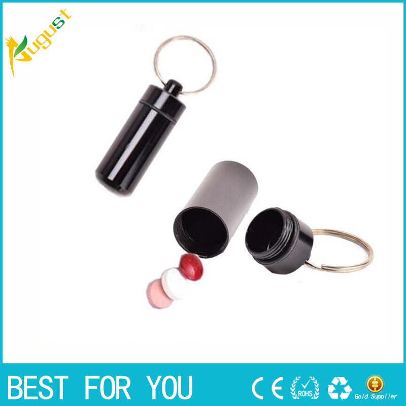 1pc Stash Pill box case medicine 14*52mm Storage Keychain Bottle Keyring metal Aluminum  ...
