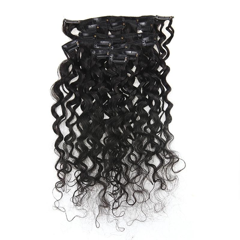 Полный блеск афро кудрявые человеческие волосы для наращивания на заколках волосы Remy для афро женщин натуральный черный цвет 7 шт. 100 г - Цвет: Water Wave