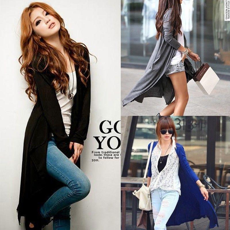 2016 Fashion Neuen Stil Neue Frauen Langarm Strickjacke Losen Pullover Outwear Lange Jacke Mantel