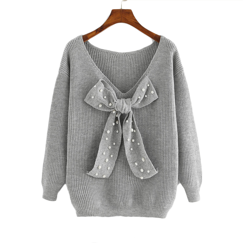 HTB1AW8RfgTqK1RjSZPhq6xfOFXaZ - SHEIN Grey Preppy Elegant Plus Size Dropped Shoulder Bow Detail Solid Pullovers Sweater Autumn Casual Workwear Women Jumpers