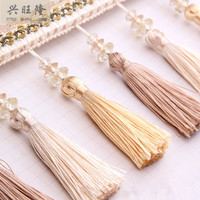 12M Lot 12cm Wide Tassel Crystal Beads Curtain Lace Accessories Drapery Fringes Trim Ribbon DIY Sewing