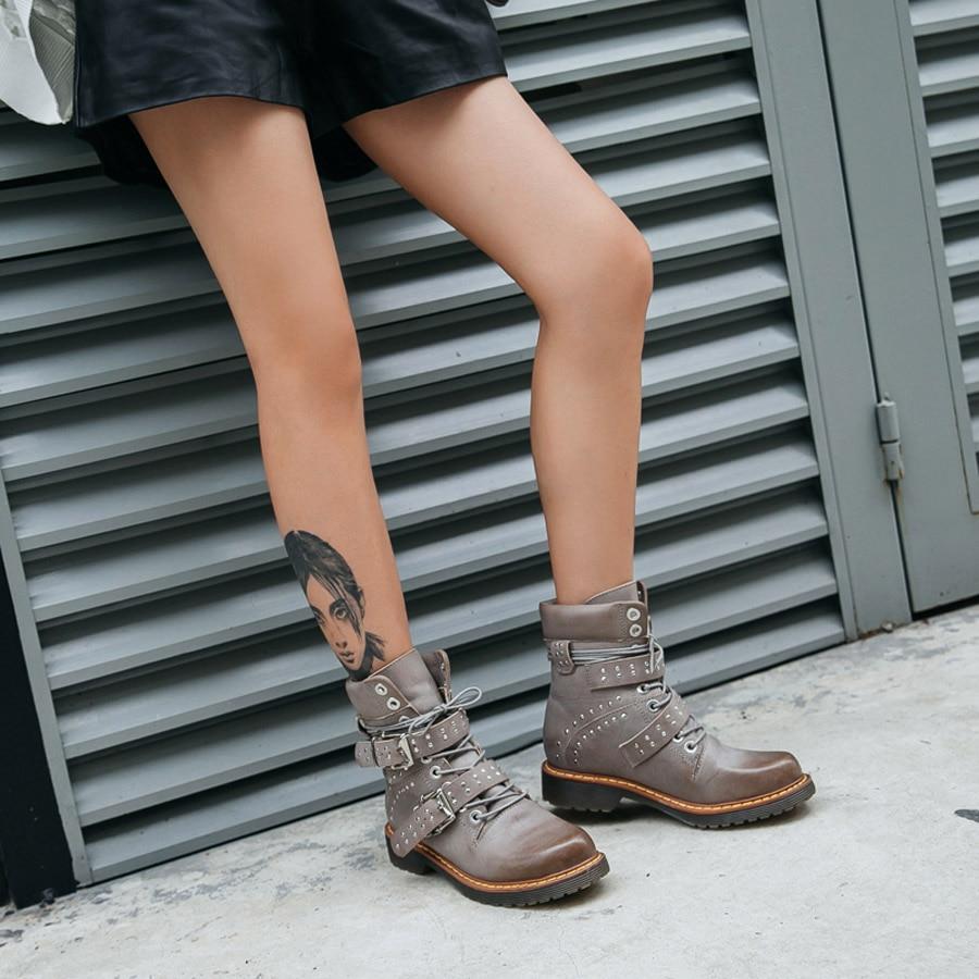 Prova Perfetto rivet ceinture boucle à lacets femmes bottines en cuir véritable gladiateur martin bottes plate forme caoutchouc bottes courtes - 2