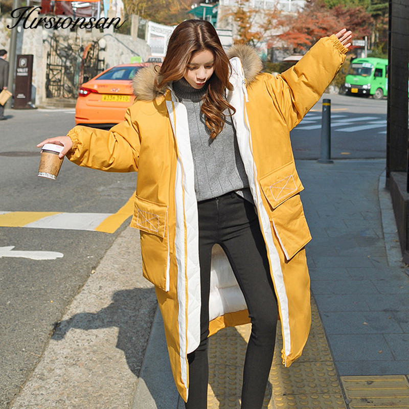 Hirsionsan Oversized Winter Coat Women 2017 Korean X-long Parka Hooded Cotton-padded Jacket Female Thick Warm Big Pocket Outwear 2017 new arrival women winter jacket hot sale character thick slim x long hooded parka cotton filler coat zl291