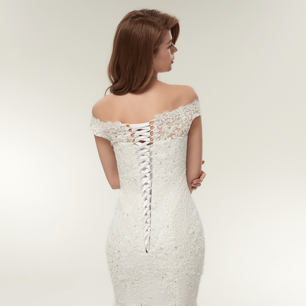 Image 5 - Fansmile Real Photo Vestidos de Novia Vintage Lace Mermaid Wedding Dress 2019 Plus Size Bridal Gowns Robe de Mariage FSM 165M-in Wedding Dresses from Weddings & Events