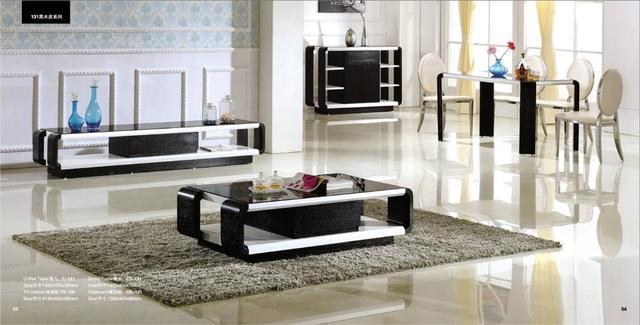 Black Wood Living Room And Dinnign Room Set 4 Piece Coffee Table