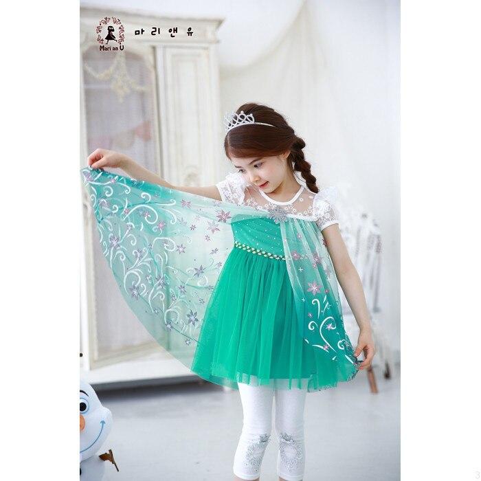 Vajzat Fustan 2019 Dantella Verore Temperatura Elsa Princesha Veshjet - Veshje për fëmijë - Foto 4