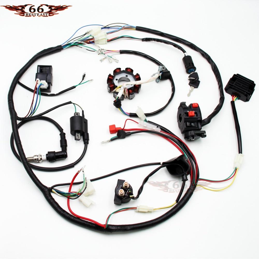 Electric Wiring Harness Wire Loom CDI Stator Kit for ATV QUAD 150CC 200CC 250CC